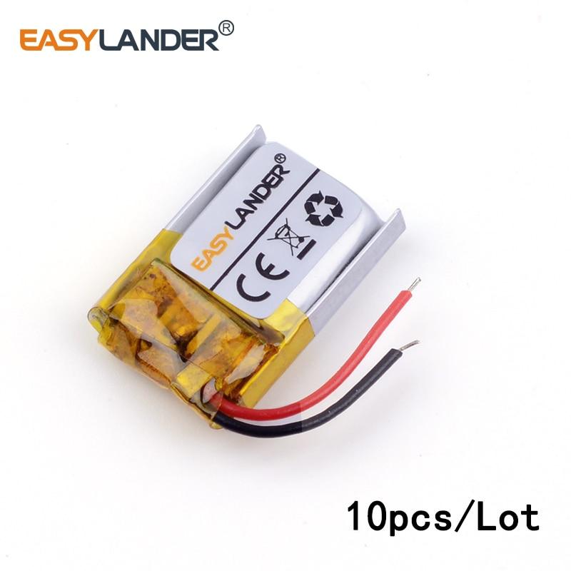 10 unids/lote 3,7 v batería recargable de polímero de litio Li 251214 30mAh con tablero de protección para productos digitales Bluetooth