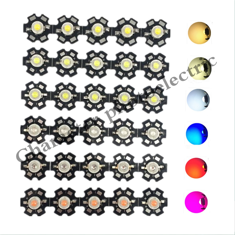 25pcs 3w cree high power led light emitting diode leds chip with aluminum star pcb warm white cold white red green blue yellow 1W 3W 5W Warm White/Cool white Red Green Royal Blue Orange UV Violet RGB High Power LED Chip Light with PCB or not pcb 10pcs/lot