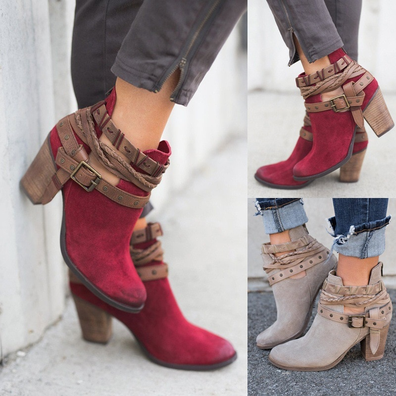 Autumn European And American Fashion Women's Boots Shoes Rivet Belt Buckle In The Thick With Round Head Ladies Ankle Boots