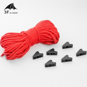3F UL Gear 20m-length 4mm/2mm-diameter Tent Reflective Ropes with 6 Stop Buttons