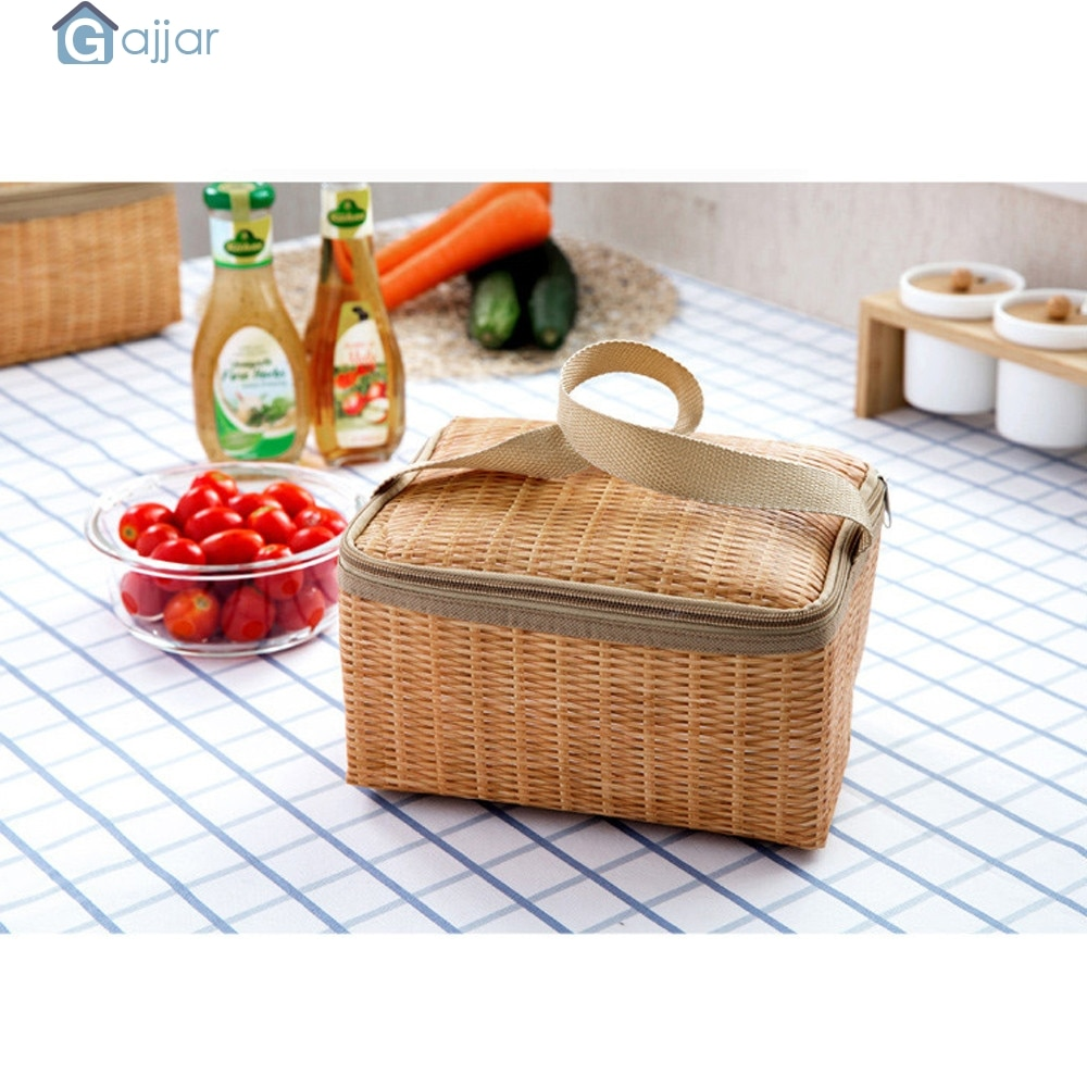 Fiambrera bolsa con aislamiento térmico bolsa térmica Bento bolsa fiambrera cajas de almacenamiento bolso de decoración para el hogar cintura Dropshiping July27