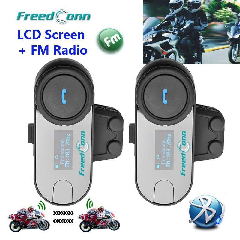 Freedconn 2 pçs tela lcd função fm 3 pilotos alto-falante da motocicleta interfone bt bluetooth sem fio capacete fone de ouvido