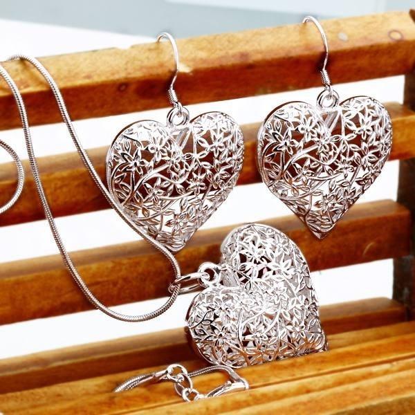 Nuevo Producto, Envío Gratis, joyería chapada en plata maciza 925, bonito collar de moda con forma de corazón, pendiente para mujer, conjunto de fiesta de alta calidad