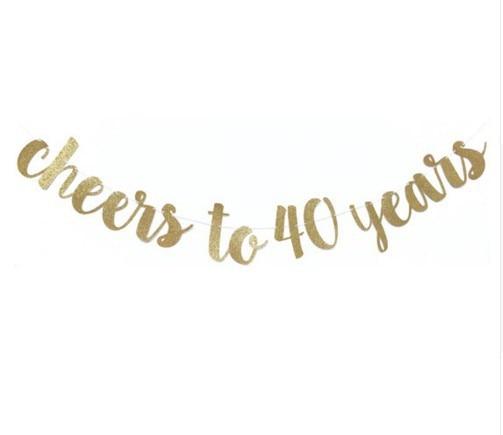 """1set oro brillo """"saludos a 30 40 50 60 70 años"""" celebración banderines para fiesta de cumpleaños Garland boda fiesta suministros"""