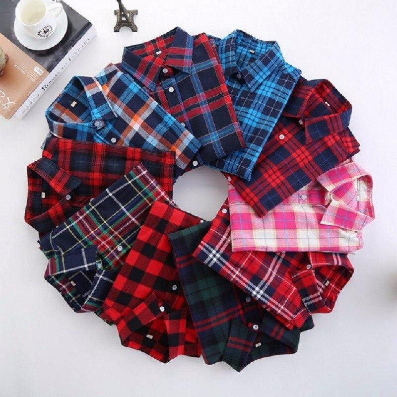 2019 de las mujeres de la moda de camisa a cuadros Camisa de franela 5XL Blusa de manga larga de las mujeres Camisa de algodón Blusas Tops de talla grande camisa de la Oficina