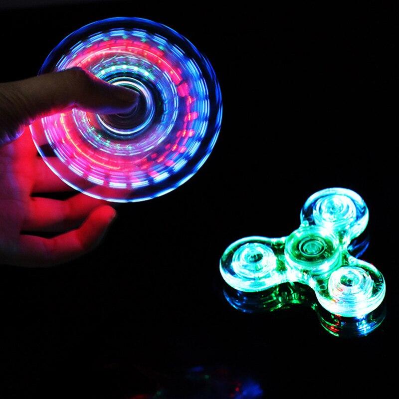 Nova luz spinner figet spinners led stress mão brilho no escuro figet spiner edc anti-stress dedo spinner