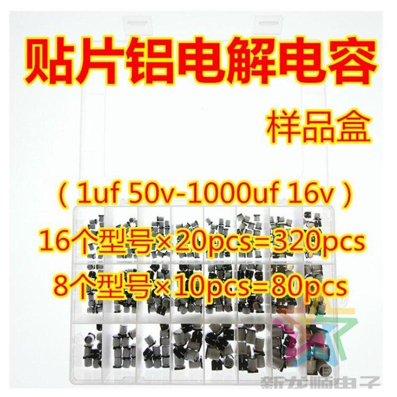 24 valores 400 Uds 1uF ~ 1000uF 6,3 V-50 V SMD condensadores electrolíticos de aluminio duraderos fáciles de instalar Kit de caja de surtido pasivo