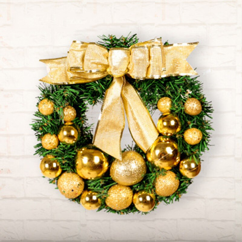 Decoración de Navidad corona dorado grande arco verde PVC adornos rociada mate bolas