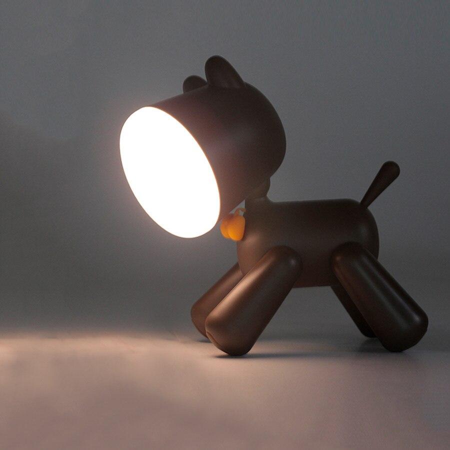 BEIAIDI de dibujos animados Animal cachorro luz de noche de LED de perro regulable de escritorio cabecera lámpara de mesa USB recargable lámpara de noche para los niños del bebé de regalo