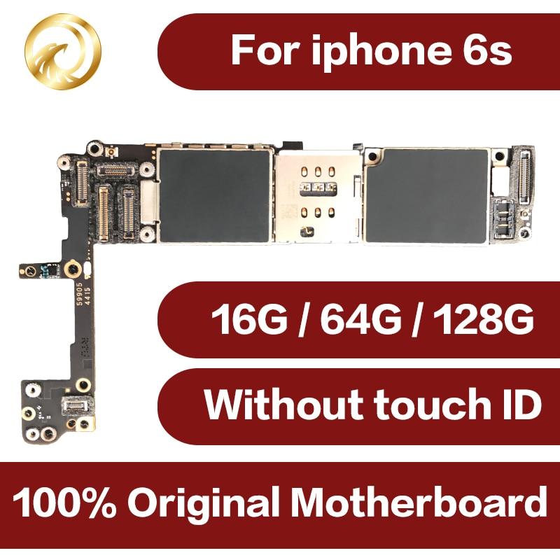 Para iPhone 6S teléfono móvil placa base Original para iPhone 6S motherboard 16GB 64GB 128GB desbloquear placa base sin ID táctil