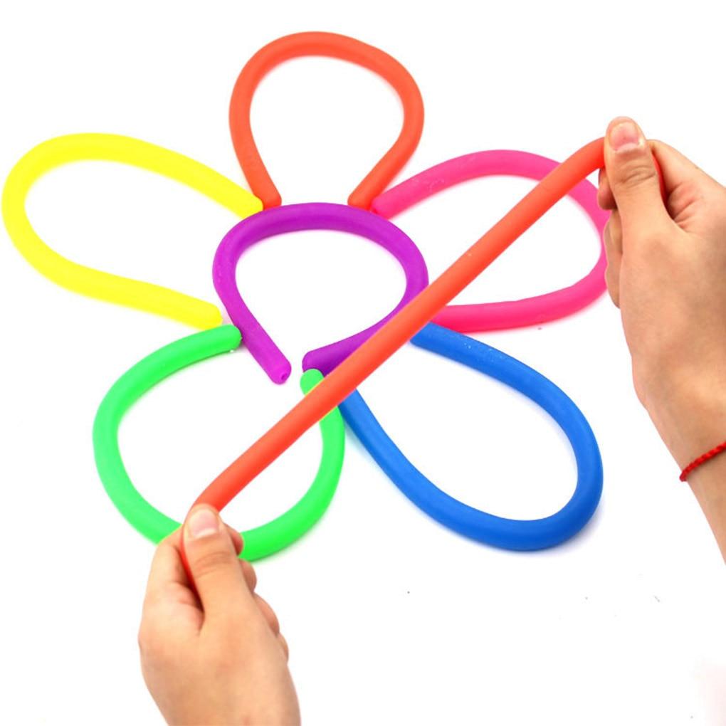 Brinquedos sensoriais coloridos do estiramento da inquietação ajuda a reduzir a pressão devido ao estresse e à ansiedade brinquedos macios da corda da corda de tpr anti stress