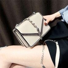 Bolso de diseño para mujer, pequeño y sencillo, a la moda británica, bolso de piel sintética de alta calidad 2020, bolsos de hombro con cadena y borla con remaches