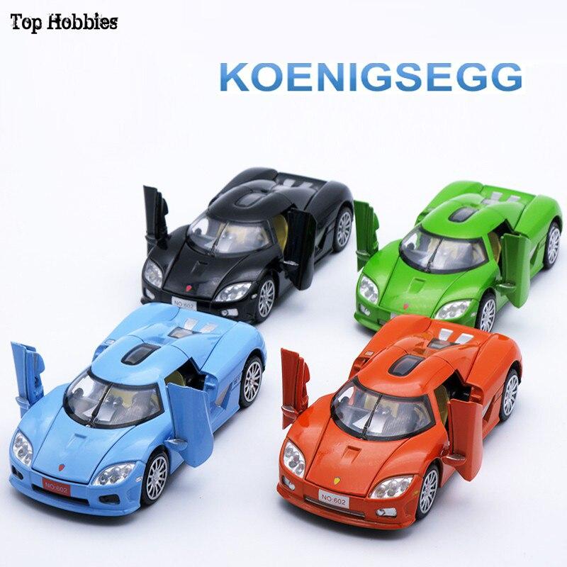 Juguetes y pasatiempos escala 132 Koenigsegg Diecast negro/azul/Verde/naranja 4 colores juguete de modelo de coche colección regalo con luz de sonido