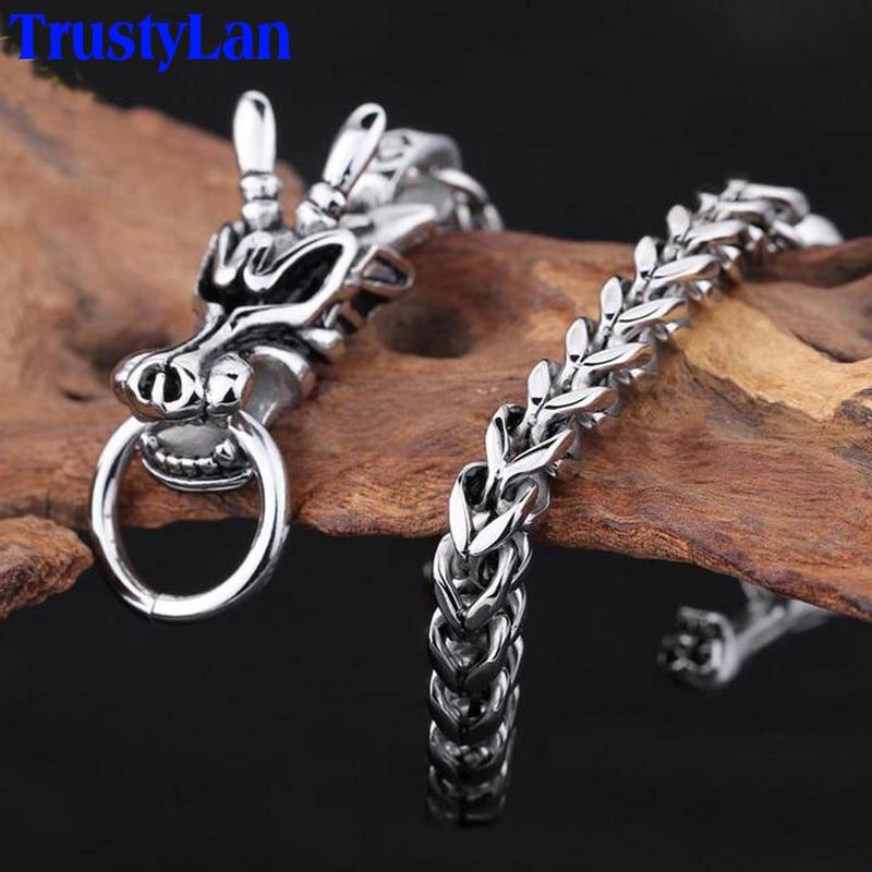 TrustyLan, pulsera de acero inoxidable que nunca se decolora, pulsera de lujo para hombre con cabeza de dragón, brazalete de joyería 2018