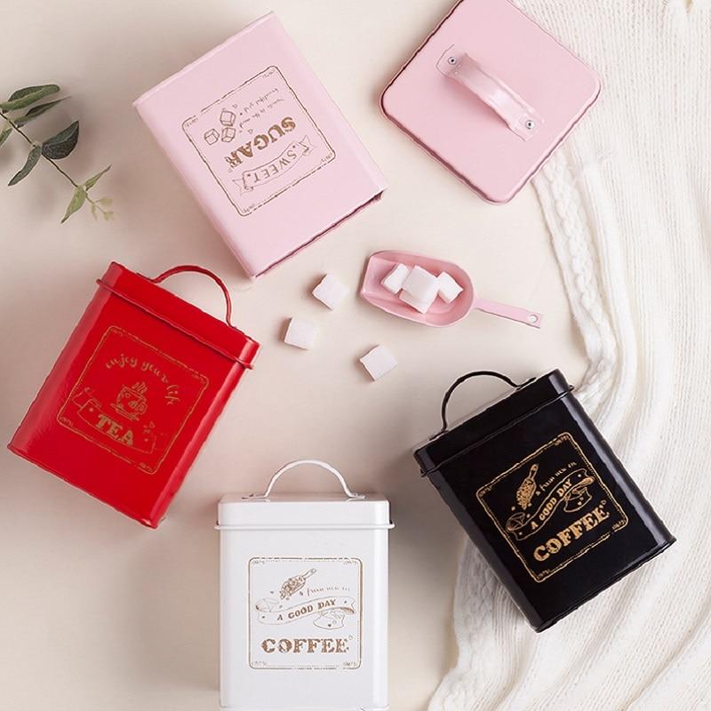 1-3 unids/set cuadrado lata sellada depósito para almacenamiento de té/café/Azúcar caja cuadrada cubierta acero utensilios de cocina caja multifunción hogar