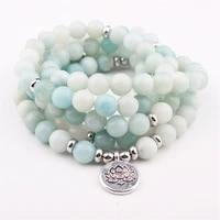 fashion 2017 womens 8 mm abamazonite bracelet 108 mala beads bracelet or necklace lotus charm yogi birthday gift
