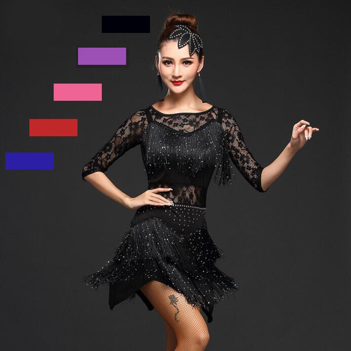 New 2018 Women Competition Dance Clothes Sequins Costume Set Fringe Salsa Dresses Ballroom Dance Ladies Latin Dress