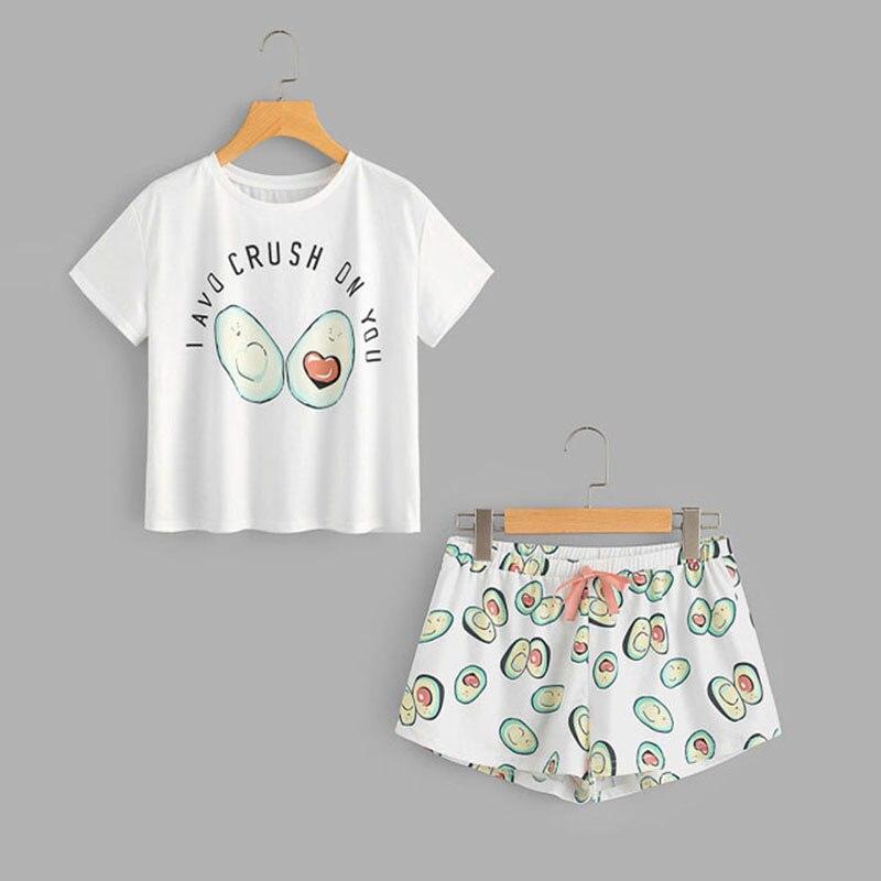 NIBESSER/Летний пижамный комплект с рисунком авокадо, футболка с короткими рукавами и шорты, комплект для сна, Женский Повседневный комплект домашней одежды, 2019