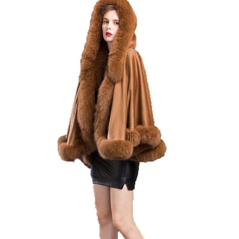 حقيقية الحقيقي الكشمير التفاف النساء حقيقية الثعلب الفراء المعطف الإناث الشتاء عباءة معطف مقنع شال/الرأس الجمل
