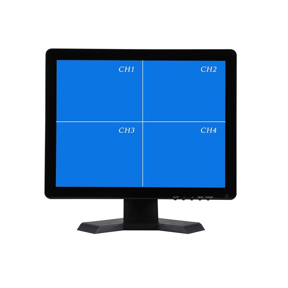 17 Polegada QUAD Screen Display Monitor de CCTV TFT-LED com Concha de Metal Exibição Do Monitor Microscópio BNC Conector VGA para PC Multimídia