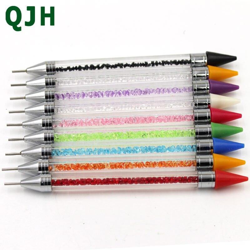 1 Uds lápiz de puntos de uñas de dos puntas, cuentas de cristal, tachuelas de diamantes de imitación, bolígrafo de cera para manicura, herramienta de Arte de uñas, bolígrafo de pintura de diamantes