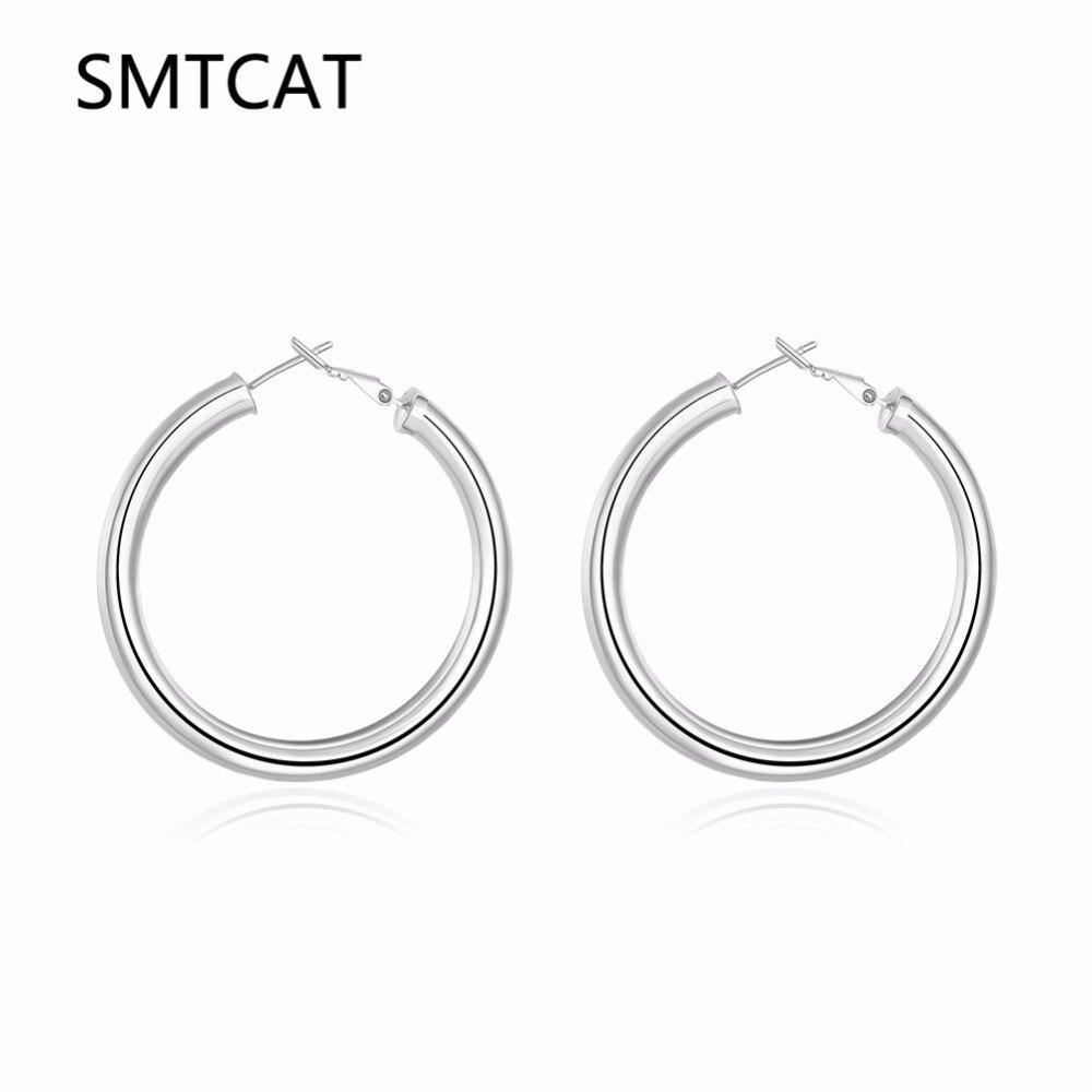 SMTCAT, pendiente de aro con círculos huecos de 5MM de diámetro 50mm Lisa redonda y gruesa, Color plateado/dorado, accesorios de joyería de moda