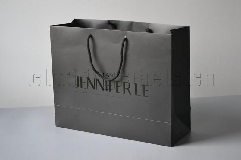 custom black shopping paper bag for clothing, bags, shoes, black foil logo