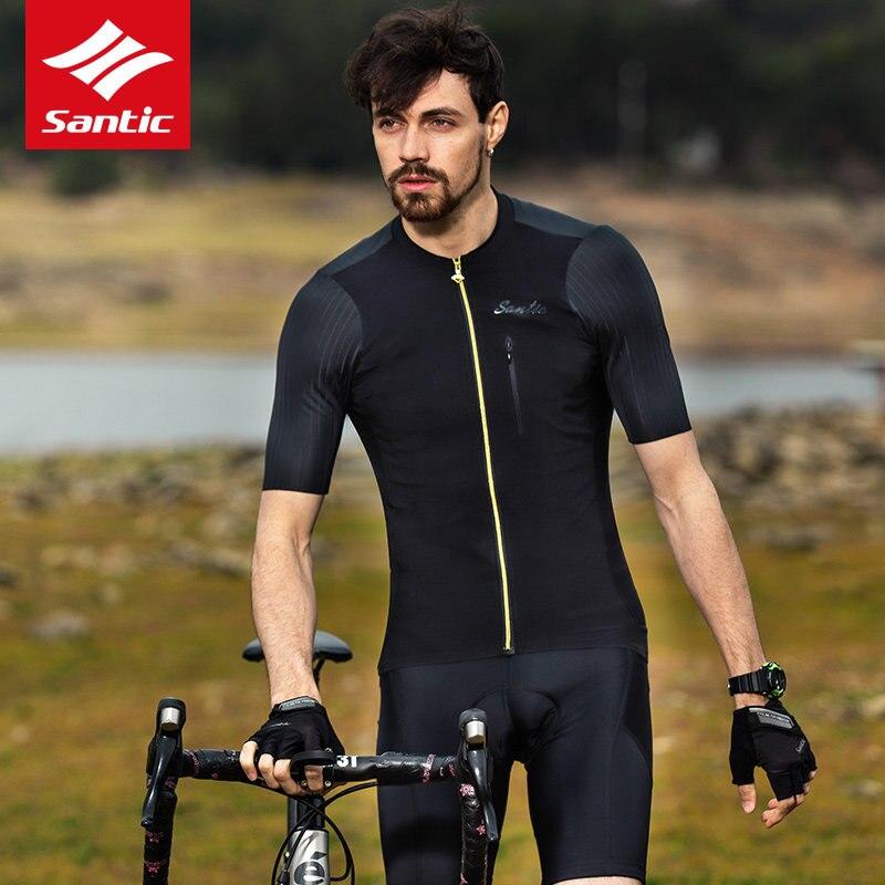 Profissional dos Homens Bicicleta de Estrada Santic Novo Ciclismo Manga Curta Jerseys Respirável Transpiração Alta Elasticidade Mtb Equitação Jérsei