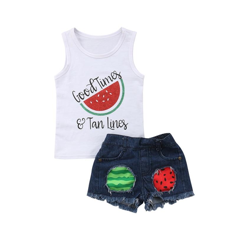 Niños bebé niña ropa conjunto verano sin mangas sandía chaleco Tops pantalones cortos rasgados Niñas Ropa trajes 2 piezas