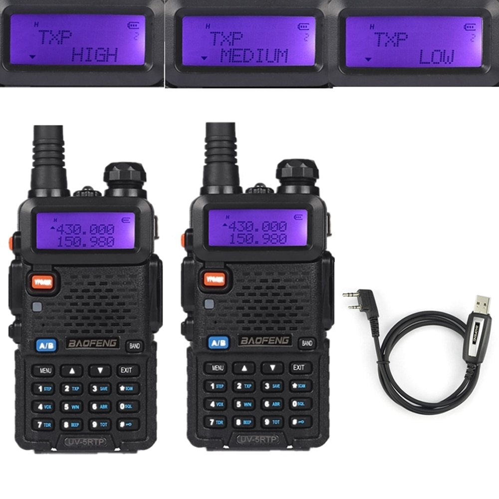 2x Baofeng UV-5RTP VHF/UHF 136-174/400-520MHz FM de alta potencia de 1/4/8W dos de jamón Radio Walkie Talkie con Cable de programación