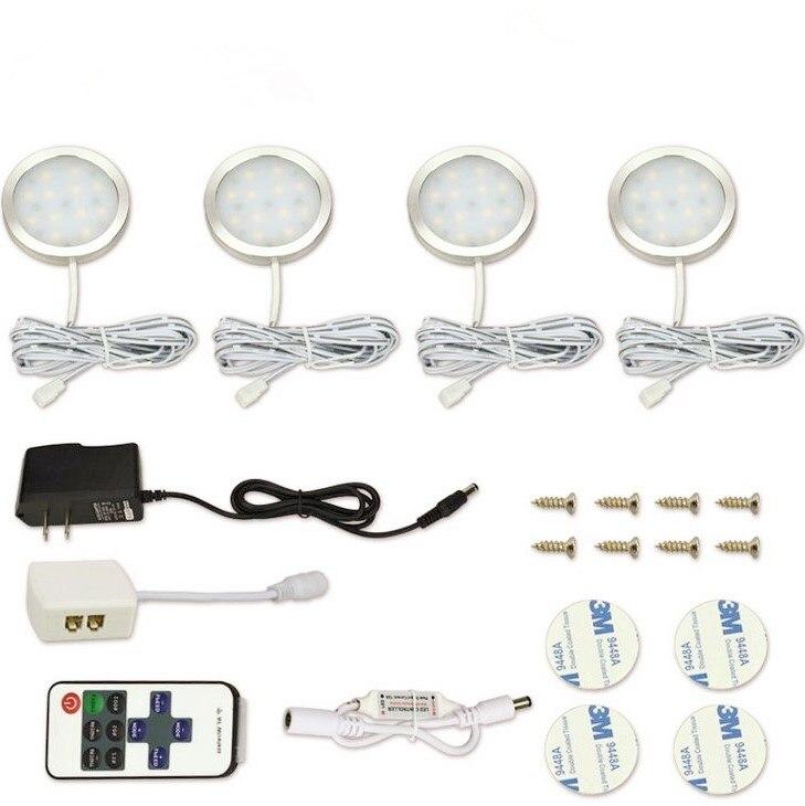 4 Pcs LED Sob A Luz Do Armário Da Cozinha Armário Puck Llights com Controle Remoto Sem Fio RF Regulável roupeiro lâmpada Lâmpadas bar Decoração