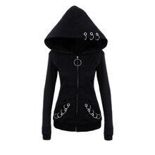XUANCOOL sweat à capuche pour femme longue gothique Punk fer anneaux noir capuche ample veste fermeture éclair manteau décontracté sweat survêtement