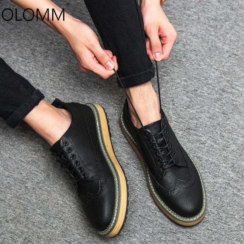 2019 nuevos Zapatos De primavera para Hombre Zapatos De cuero Zapatos De fondo grueso Brock aumento mocasines Zapatos De Hombre zapatillas gruesas