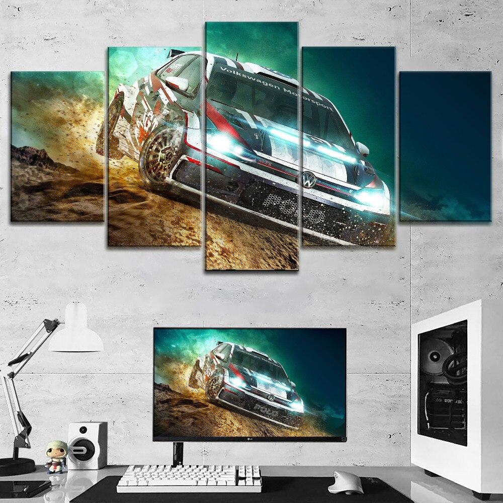 Arte Da Decoração Da Parede moderna Um Conjunto Modular Top-Rated Tipo de Impressão Grande Cartaz Da Lona 5 Peças Volkswagen Motorsport Rali pintura