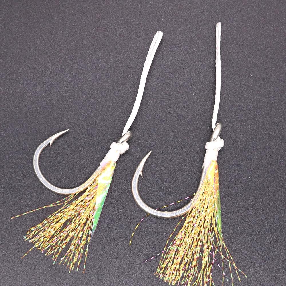 CASTFUN Mustad Assist Hook High Carbon Steel 1/0 3/0 5/0 7/0 9/0 Slow Jig Assist Hook Feather PE Line Fishing 4PCS/Bag