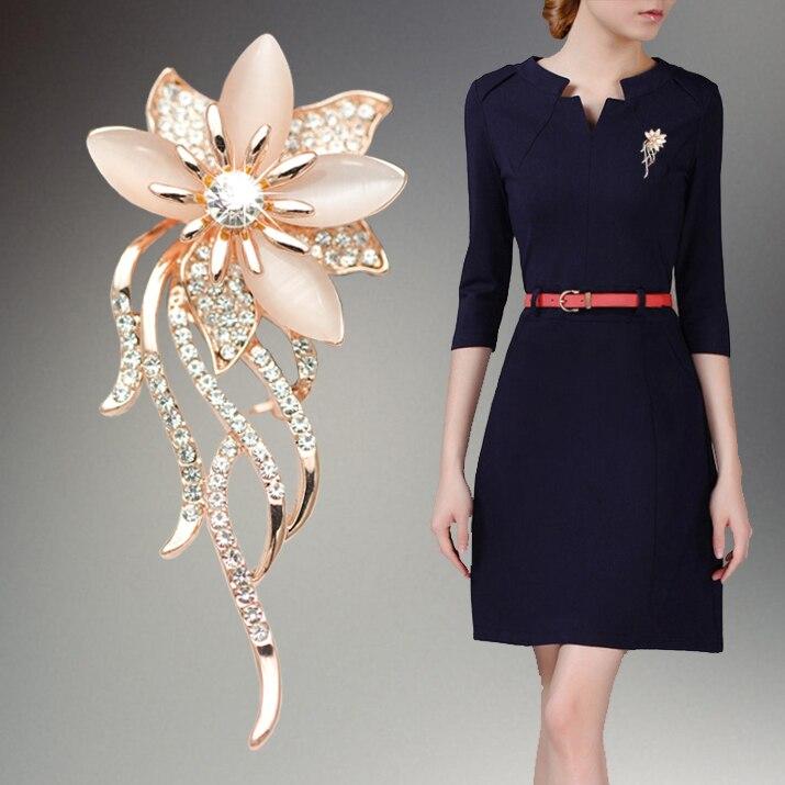 OneckOha de moda de piedra de ópalo flor broche Pin de mujeres accesorios prendas de vestir joyas broche de Pin Rhinestone