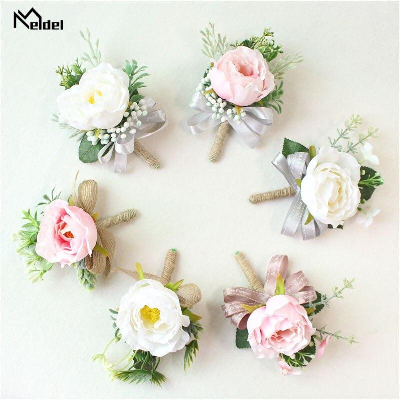 Meldel boutonniere casamento corsage noivo broche noiva pulso corsage branco rosa flor de seda da dama de honra pulseira suprimentos de casamento
