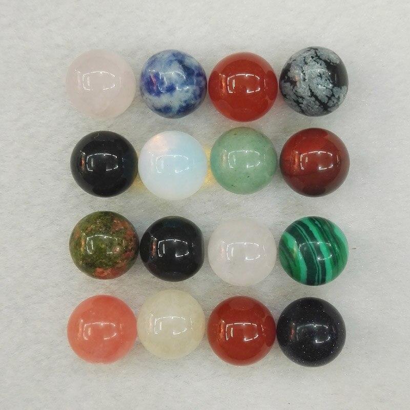Großhandel 50 stücke Natürliche runde Stein Ball Perlen, 10mm Stein Perle Ball Dekoration, keine Loch Mischte Farbe Steine Kostenloser Versand