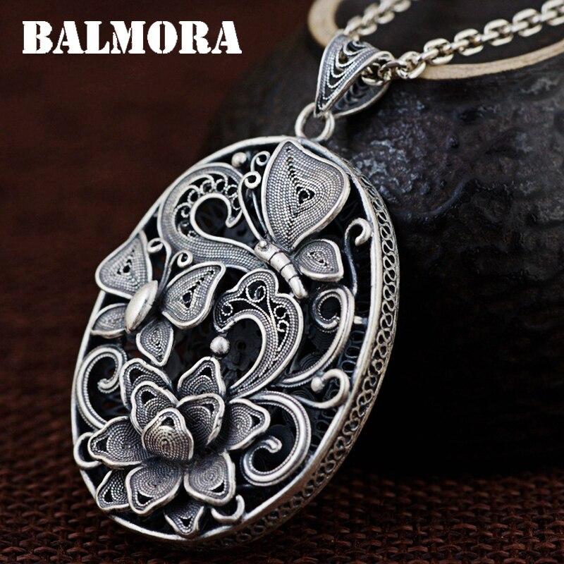 BALMORA 100% colgantes de mariposa y Flor de plata auténtica 990 para regalo de Navidad sin cadena SY13509