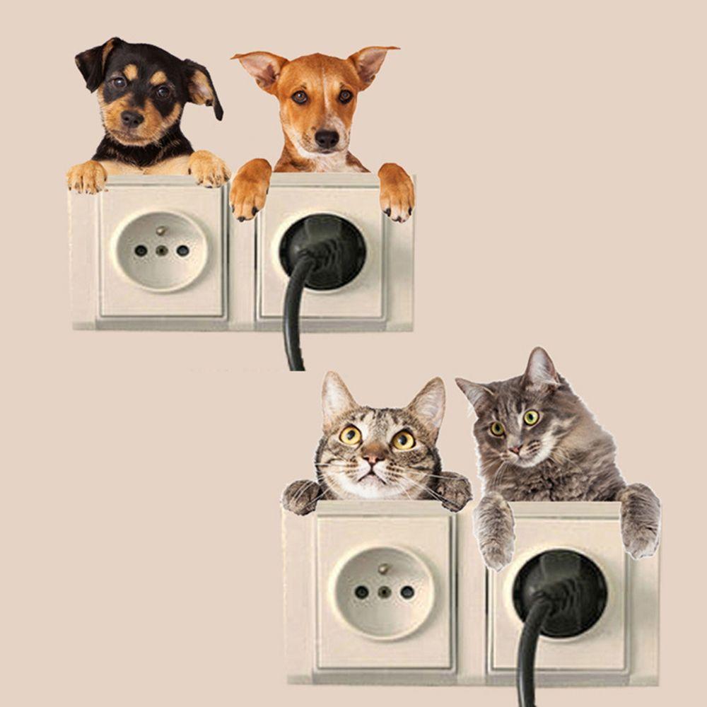 Cão gato Interruptor Adesivos 3D Furo Vista Vivid Banheiro Sala Geladeira Animais Decor Decalques de Parede Poster 1pc