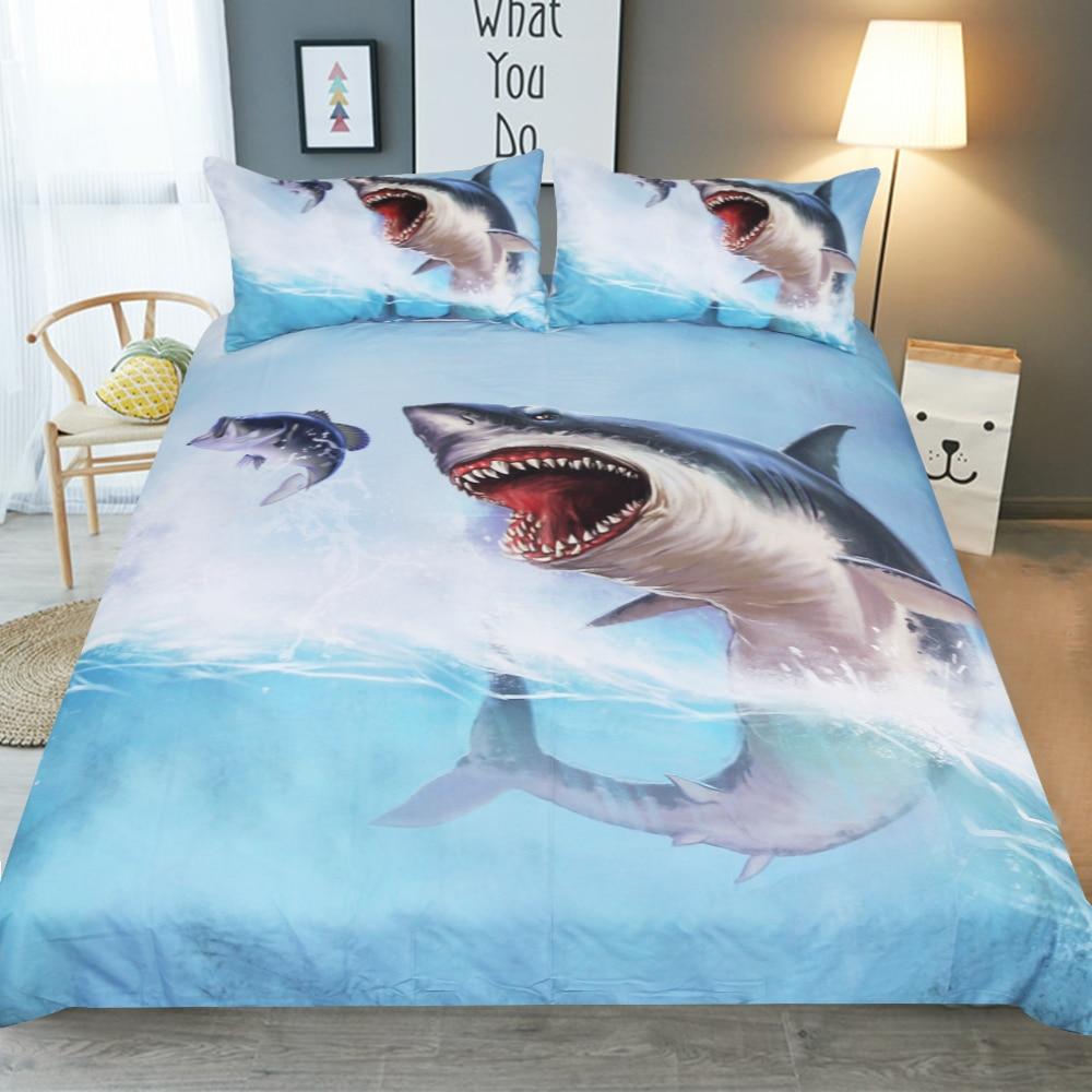 Frete grátis 1pc capa de edredão & 2 pçs fronhas azul mar tubarão água jogo cama 3d animal impressão têxtil casa