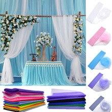 5m * 48cm małżeństwo Tulle Roll Sheer Crystal tkanina z organzy na ślub dekoracje na imprezę urodzinową DIY siatka do szycia Organza spódnica 75