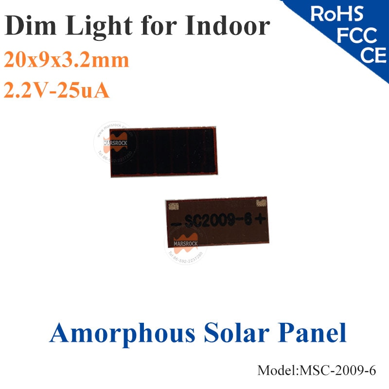 20X9mm 2,2 V 25uA dim película delgada de silicona amorfa vidrio de la célula Solar ITO para productos de interior, calculadora, juguetes, batería de 0-1,5 V