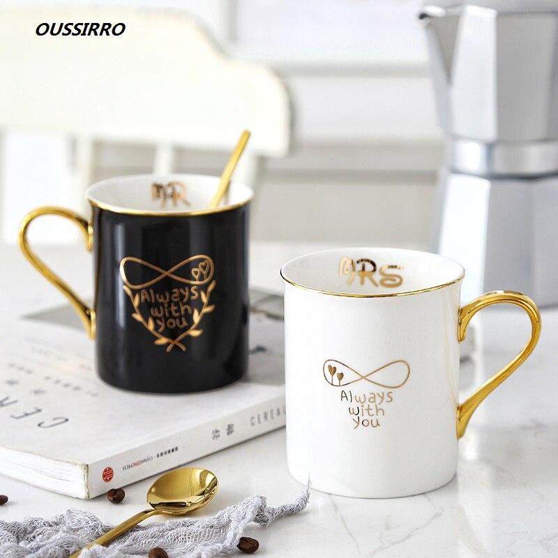 OUSSIRRO, taza de café de porcelana y cerámica dorada con asa, caja de regalo Mr y Mrs, taza de té y leche, regalo creativo de aniversario de bodas