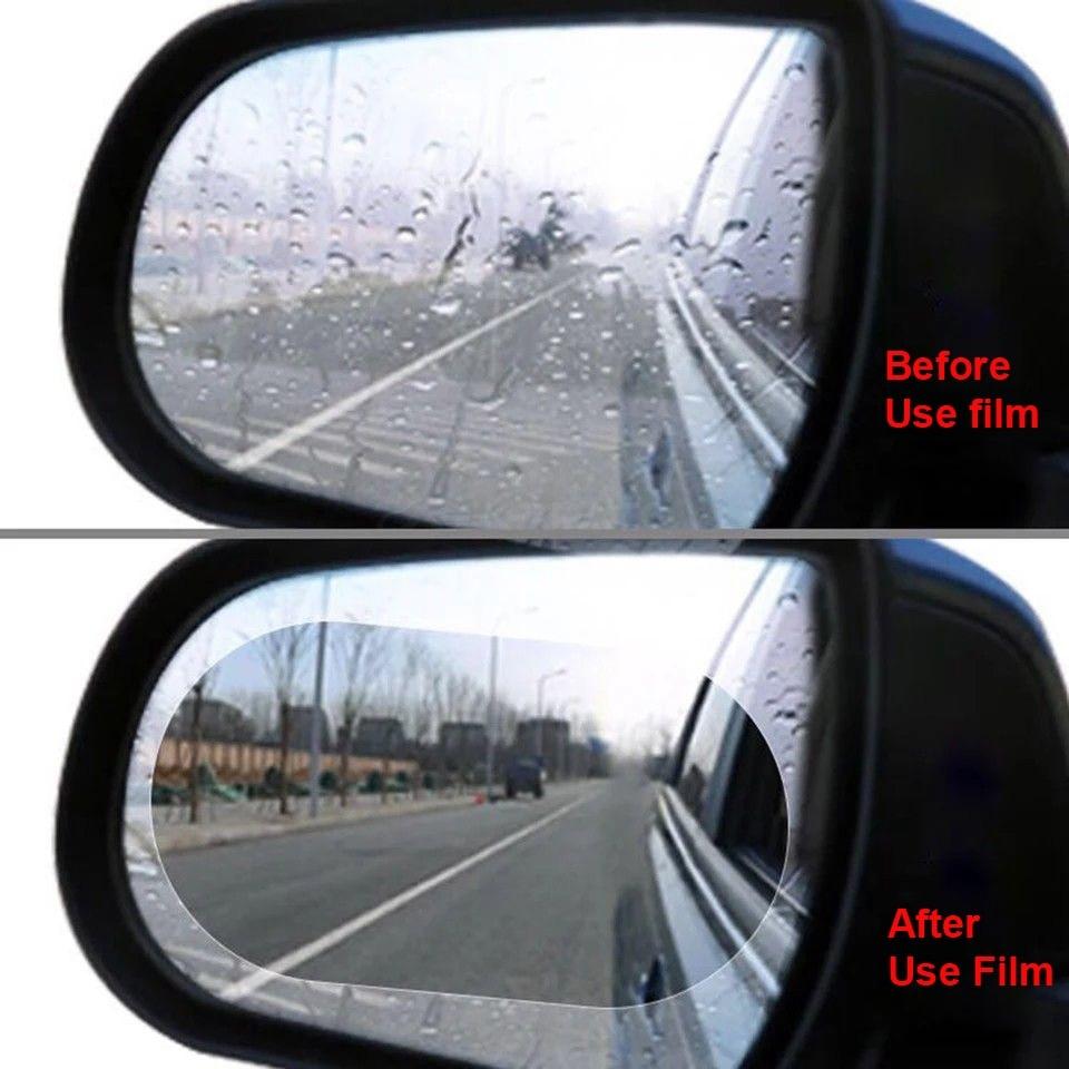 2 uds película antiniebla película impermeable espejo retrovisor espejo lluvia película redonda ovalada lámina adhesiva transparente accesorios de coche