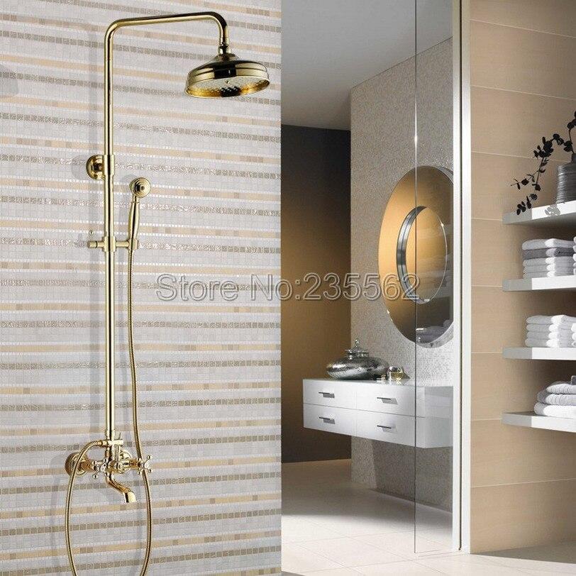 الذهب اللون النحاس الحائط المطر صنبور دش مجموعة مع اليد رذاذ صنبور + 8 بوصة الحمام دش رؤساء lgf341