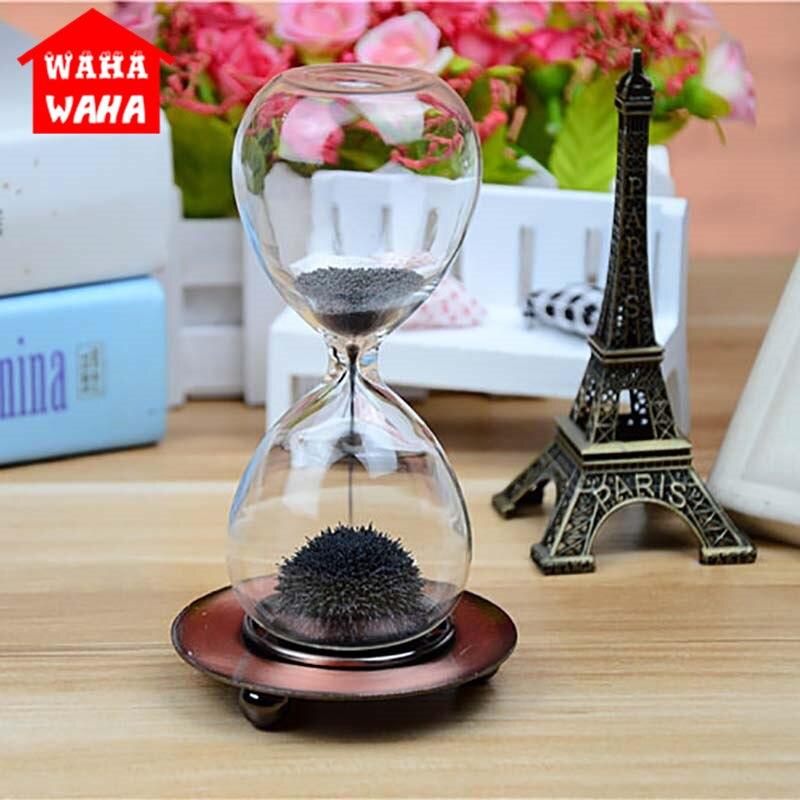 Magnet Sanduhr Dekoration Sanduhr Sand Clock Timer Retro Eisen Sitz Sand Glas Büro Möbel Dekorationen Ornamente