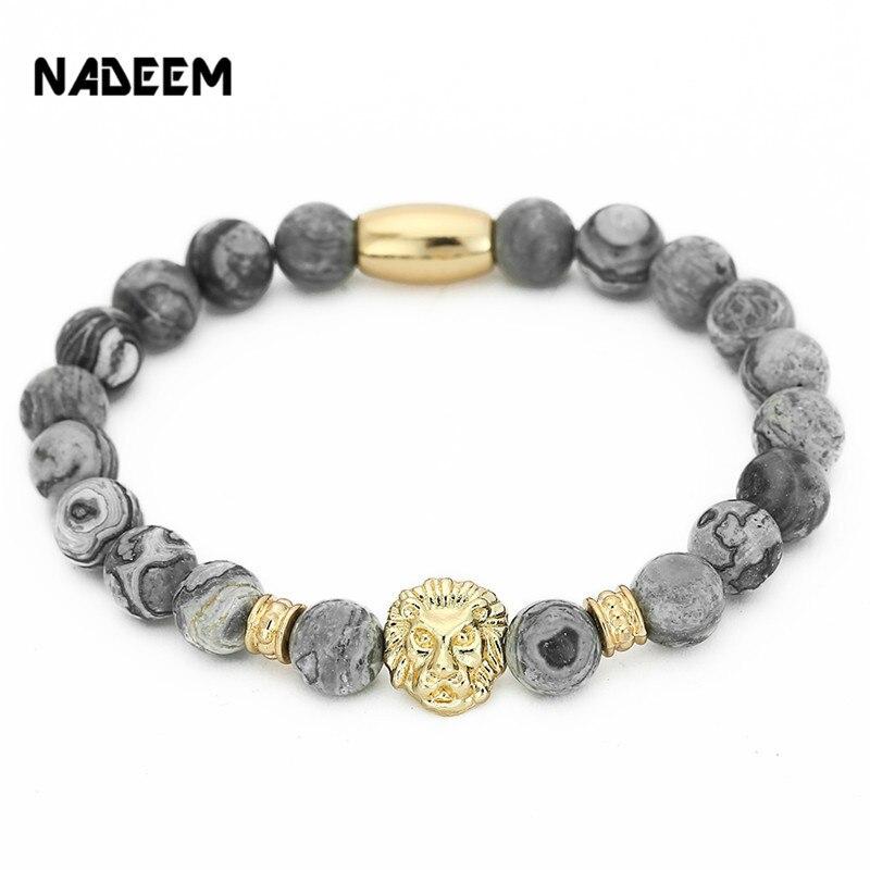 NADEEM mode Masculinas marbre naturel pierre tête de Lion Bracelet femmes Pulseras Hombre Bracciali hommes élastique perle Bracelet