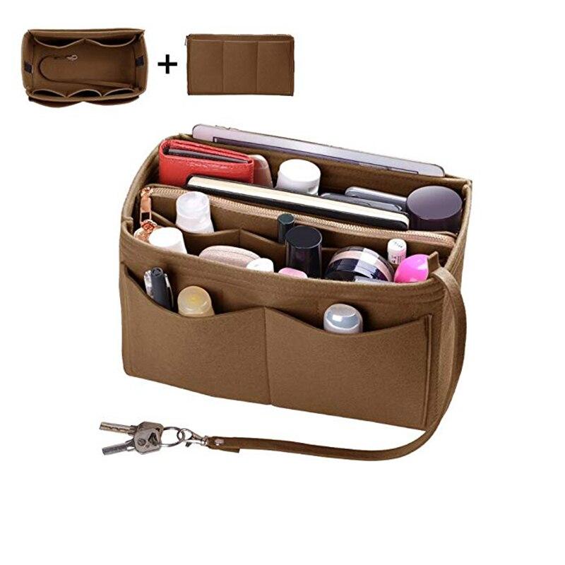 Home Storage Bag Purse Organizer Felt Insert Bag Makeup Organizer Inner Purse Portable Cosmetic Bags Storage Tote L