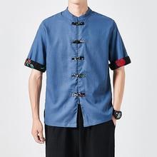 Sommer Herren Baumwolle Leinen Hemd Kurzarm Shirts Chinesischen Stil Mode Mann Kleid Shirts 2021 Männlich Stehen Kragen Taste Kleidung
